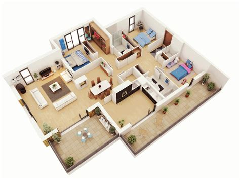 stunning bedroom flat plan free 3 bedrooms house design and lay out