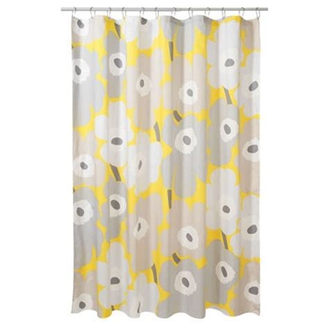 shower curtain marimekko unikko yellow bathroom decor