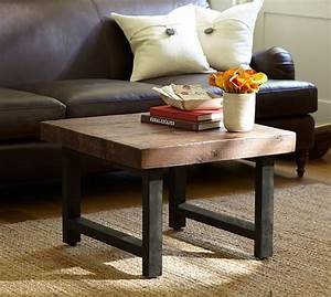 griffin reclaimed wood cube table pottery barn With griffin reclaimed wood coffee table