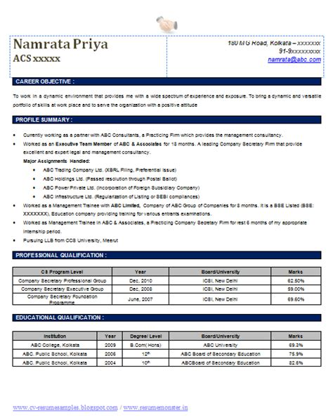 resume format for mnc company