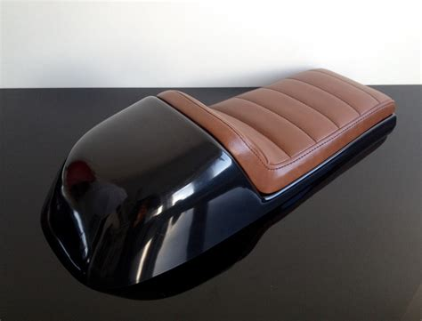 Cafe-racer Seat, Universal, Brown Leather, Black Stitching