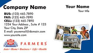Providing auto, home, farm, and life insurance as well as education, legislative, and youth programs. Farmers Insurance business card designs PRINTZU.COM