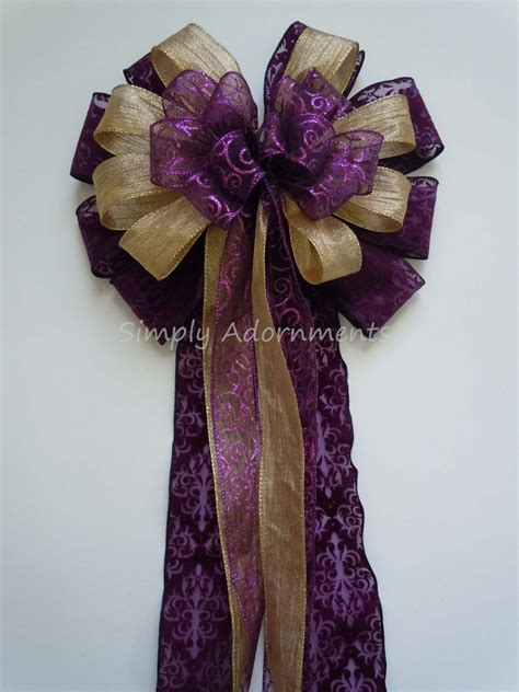 purple gold christmas bow purple and gold by