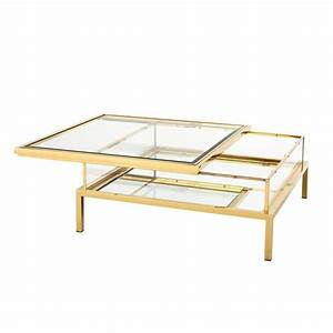 slide square coffee table in gold finish with clear glass With clear and gold coffee table