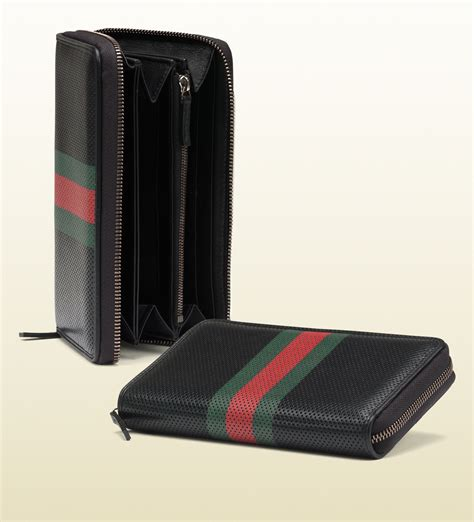 gucci perforated leather web zip wallet black