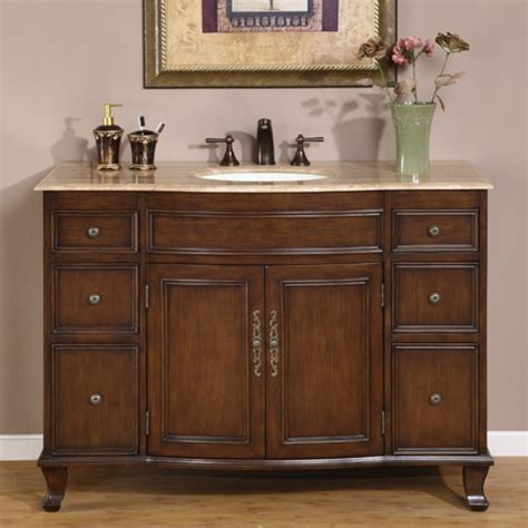 antique brown single sink bathroom vanity