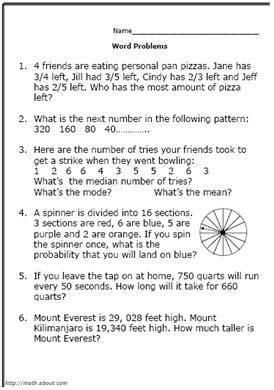 printable  grade math word problem worksheets