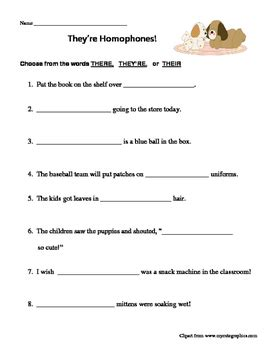 Homophones There, Their, They're Worksheet By M And M Resources