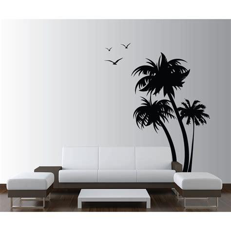 Innovative Stencils Palm Coconut Tree with Seagull Birds
