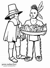 Coloring Pages Thanksgiving Pilgrim Native Pilgrims Printable Sheets American Indian Adult Sheet Indians Americans Drawings Books Fun Throughout Internet Found sketch template