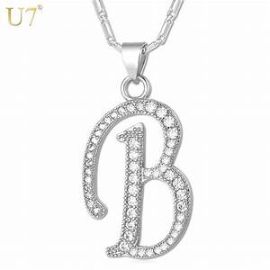 u7 name jewelry alphabet b letter necklaces pendants With letter b pendant gold