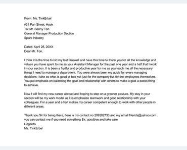 sample farewell letter  docs  word