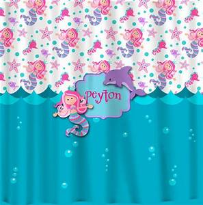 Personalized custom mermaid shower curtain turquoise for Turquoise and pink bathroom