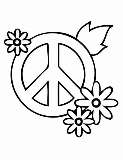 Coloring Peace Pages Flowers Flower Printable Simple