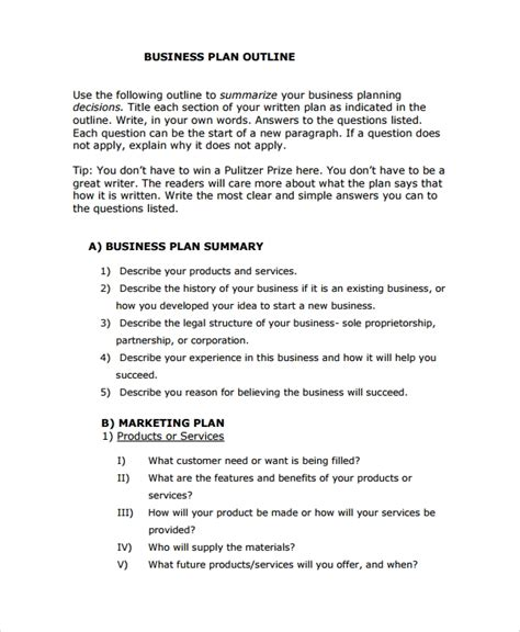 Basic Business Plan Template by 8 Business Plan Outline Templates Sle Templates