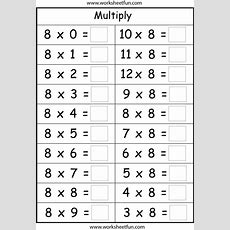 Multiplication Basic Facts  2, 3, 4, 5, 6, 7, 8 & 9 Times Tables  Eight Worksheets