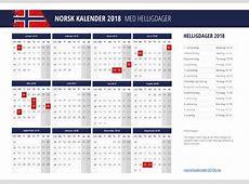 KALENDER 2018 med helligdager
