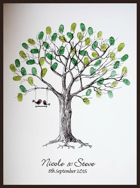 large personalised wedding fingerprint thumbprint tree alternative guest book ebay