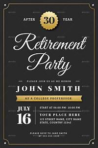 gold retirement invitation flyer templates by vector With retirement announcement flyer template