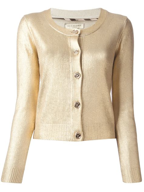 Burberry Round Neck Cardigan In Metallic Lyst