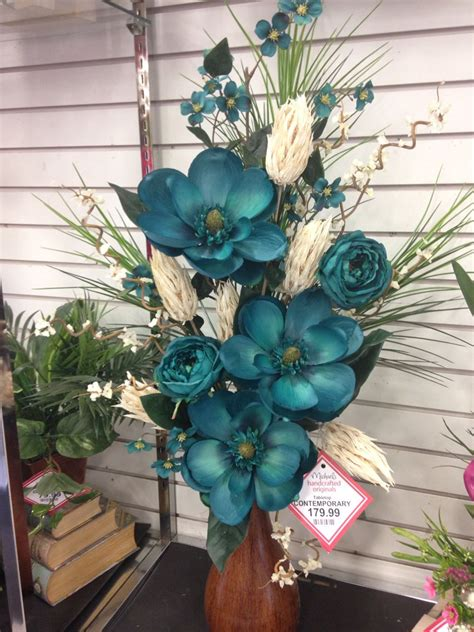teal contemporary  floral arrangements floral