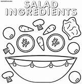 Salad Coloring Pages Ingredients sketch template