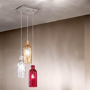 Suspension 3 Lampes : la bouteille lampe suspension 3 lumi res en verre souffl ~ Melissatoandfro.com Idées de Décoration