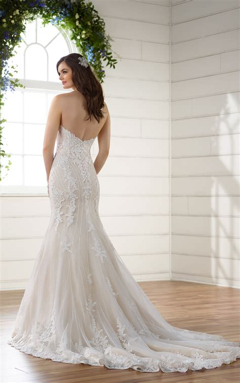 beaded curve hugging trumpet wedding dress essense
