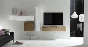 Ensemble Meuble TV Fabrication Italienne Blanc Brillant
