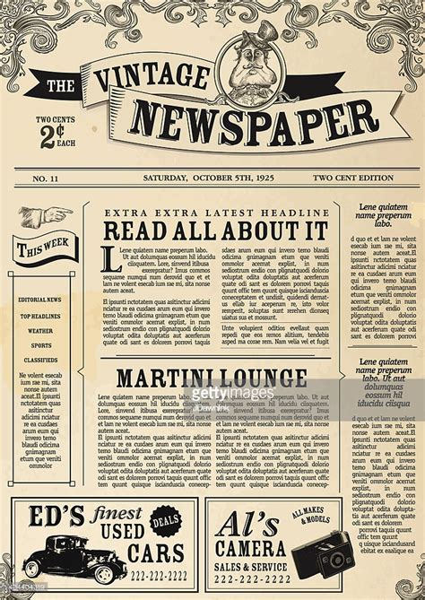 Classic Newspaper Template by Vintage Newspaper Layout Design Template Vector