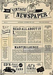 vintage newspaper layout design template vector art With classic newspaper template