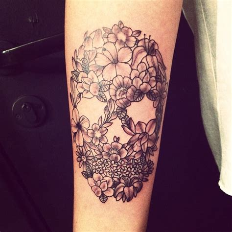 ideas  flower skull tattoos  pinterest pretty skull tattoos skull thigh tattoos