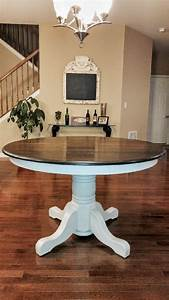 Beautiful Solid Oak Table  The Base Done In Manor White