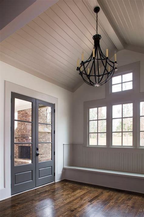 Shiplap Ceiling - gray shiplap vaulted ceiling mudroom bench cottage