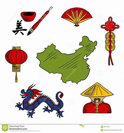Culture Chinese Icons Religion Illustration Vector Sketched