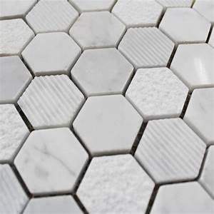 Carrelage Hexagonal Blanc : mosa que marbre carrare hexagone blanc carrelage mosaique ~ Premium-room.com Idées de Décoration