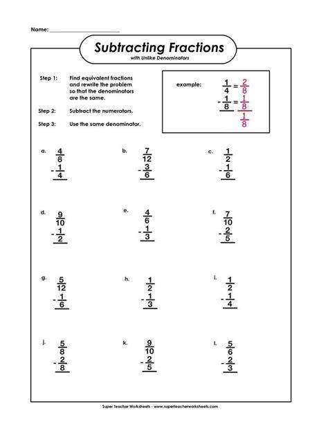 5th grade math worksheet subtracting fractions subtracting fractions with unlike denominators