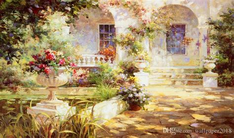 fantasy garden oil painting wall background modern