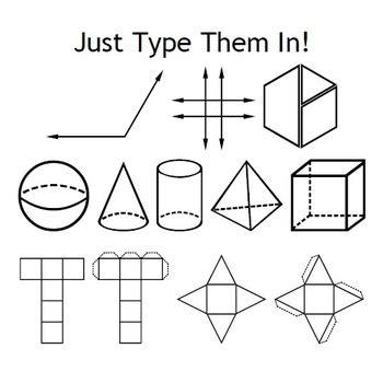 geometry fonts angles shapes nets pattern blocks