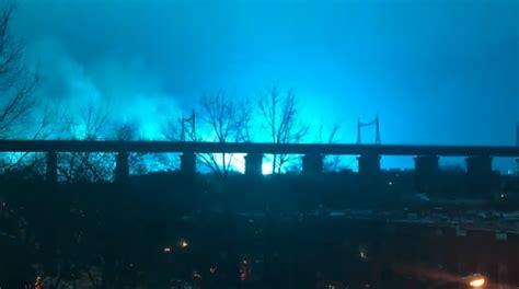 transformer explosion lights   york citys skyline