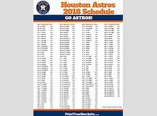Printable Houston Astros Baseball Schedule 2019