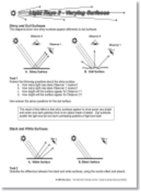 reflection of light worksheet worksheets for all