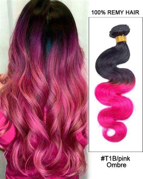 16 T1bpink Black Pink Ombre Hair Body Wave Hair Bundles