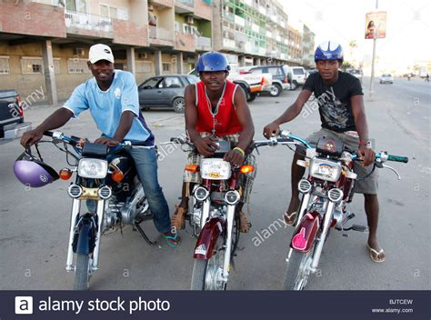 Motorcycle Taxi Drivers Waiting For A Fare. Benguela City