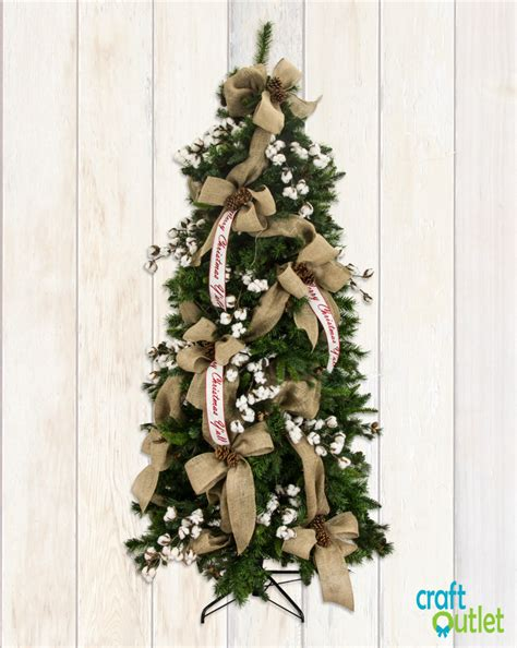burlap themed christmas tree christmas tree decorating with burlap and deco mesh craft outlet inspiration