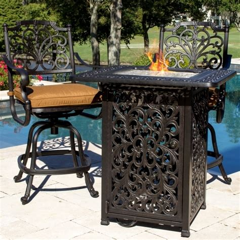 bar height patio table with fire pit alluring san marcos 7 piece bar height patio set with fire