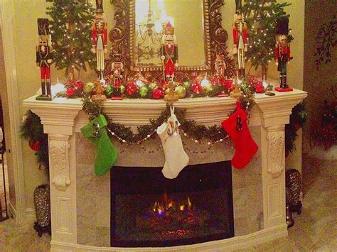christmas fireplace mantle stockings trees