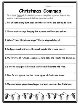 2nd grade grammar christmas commas activities grammar 2nd ela