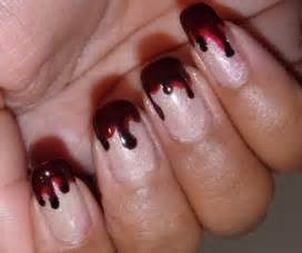 Red and black halloween nail art simple design