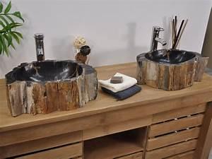 double vasques de salle de bain en bois petrifie fossilise With double vasque en pierre salle de bain